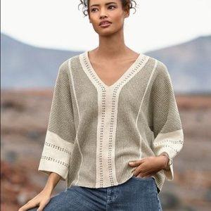 Wrap London Stitch Detail Cotton Sweater Size 8 WU06